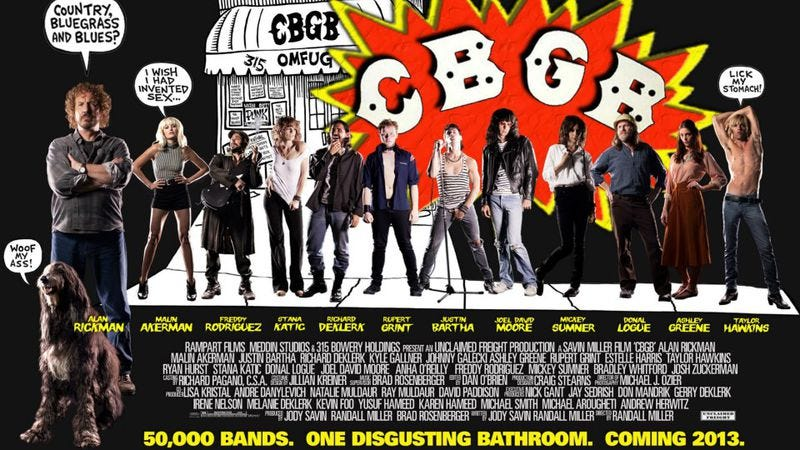 Illustration for article titled The poster for the CBGB movie faithfully captures the '70s punk scene as a silly cartoon
