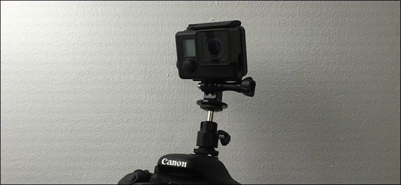 Illustration for article titled Mount a GoPro to Your DSLR Camera With A Couple of Cheap Attachments