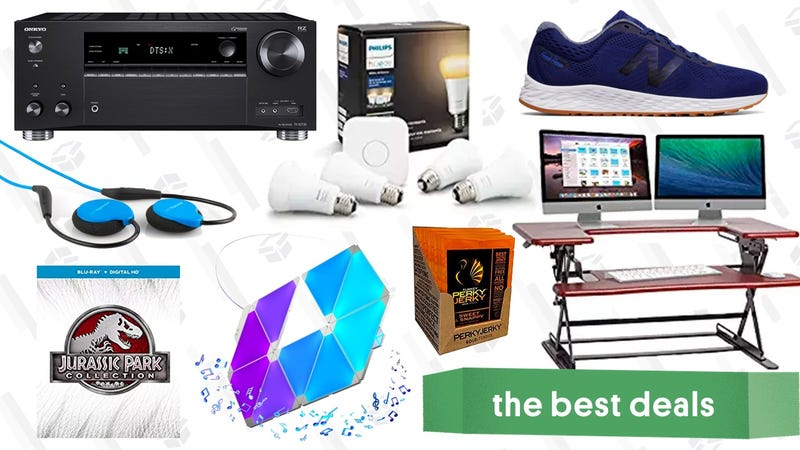 Illustration for article titled Friday's Best Deals: Standing Desk, Smart Lighting Kits, Dolby Atmos Receiver, and More