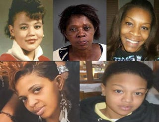 Top row: Raynette Turner; Joyce Curnell; Sandra Bland. Bottom row: Ralkina Jones; Kindra Chapman.Top row: Twitter. Bottom row: 13 Action News; YouTube screenshot.