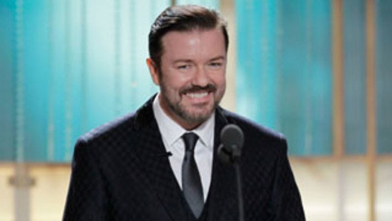 Illustration for article titled Ricky Gervais wouldn't host the Golden Globes again even if they asked him