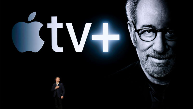 Steven Spielberg in Cupertino last month, hitching his metaphorical wagon to Apple's new streaming service, Apple TV+.