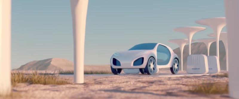 Illustration for article titled Michelin Previews Future 3D-Printed Tire Concept For A Lonely Dystopian Future