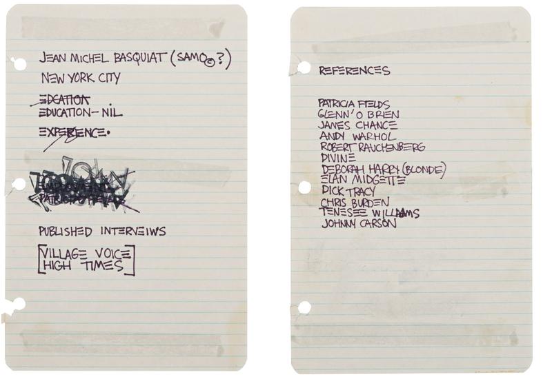 Illustration for article titled Jean-Michel Basquiat szakmai önéletrajza elég minimál