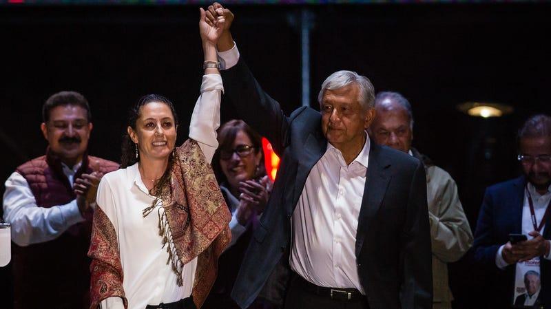 Claudia Sheinbaum, left, with presidential winner Andres Manuel Lopez Obrador.