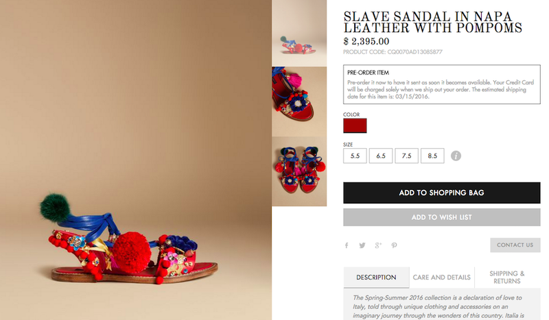 Illustration for article titled Very Cool: There Are Some $2,395 'Slave Sandals' Up for Grabs on Dolce & Gabbana's Website