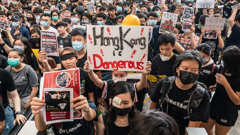 Protesters occupy the arrival hall of the Hong Kong International Airport during a demonstration on August 12, 2019 in Hong Kong, China