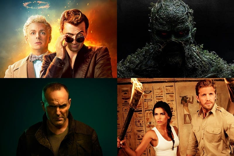 Clockwise from top left: Good Omens, Swamp Thing, Blood & Treasure and Marvel's Agents of SHIELD.