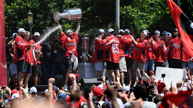 Illustration for article titled Washington Capitals likely first and last team to do keg stands on the Stanley Cup