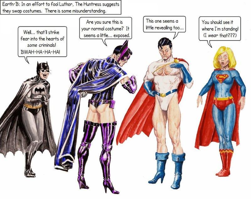 Illustration for article titled Superman/Power Girl, Batman/Batgirl switcheroo