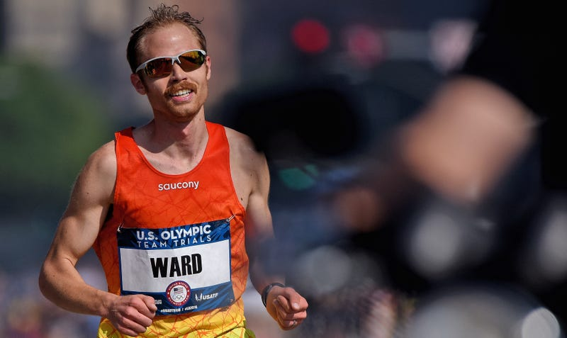 Look, Olympic marathoner Jared Ward is sponsored by Saucony. (Photo credit: Jonathan Moore/Getty)