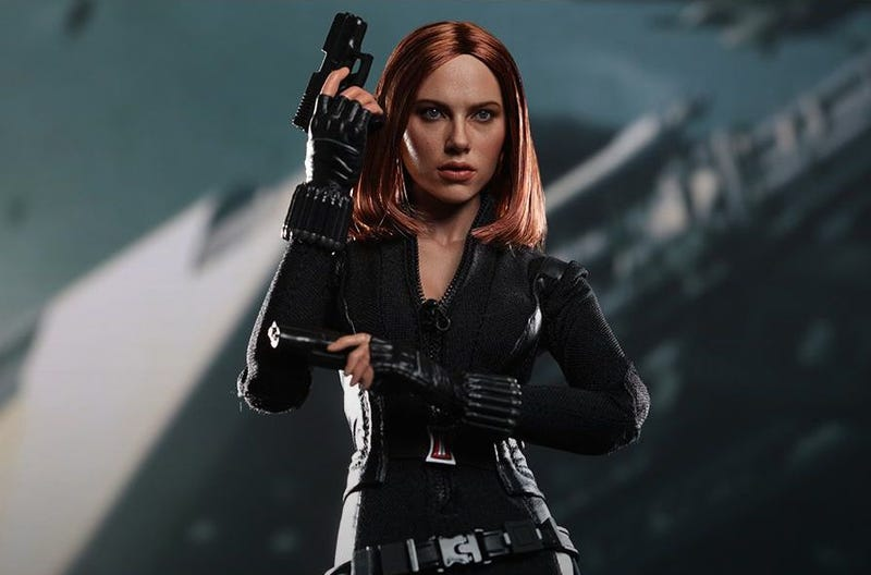 Illustration for article titled This Black Widow toy may have stolen Scarlett Johansson's soul
