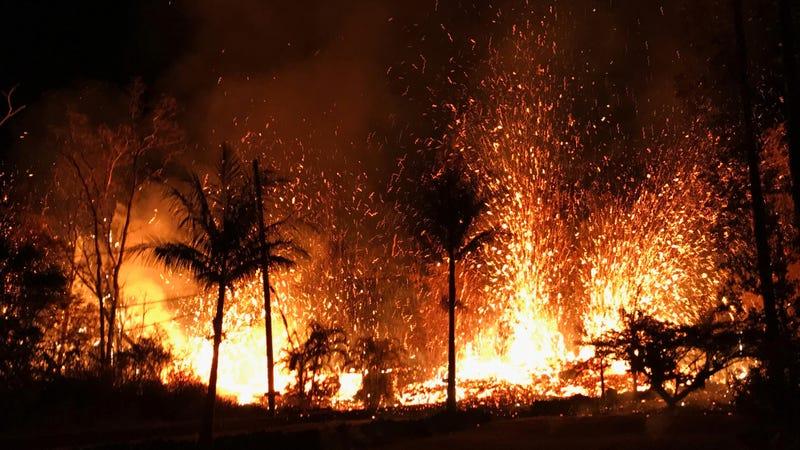 Lava flows at Leilani Estates in Pahoa, Hawaii.