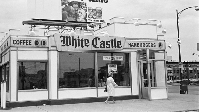 A White Castle in Indianapolis, Indiana photographed in May 1970.