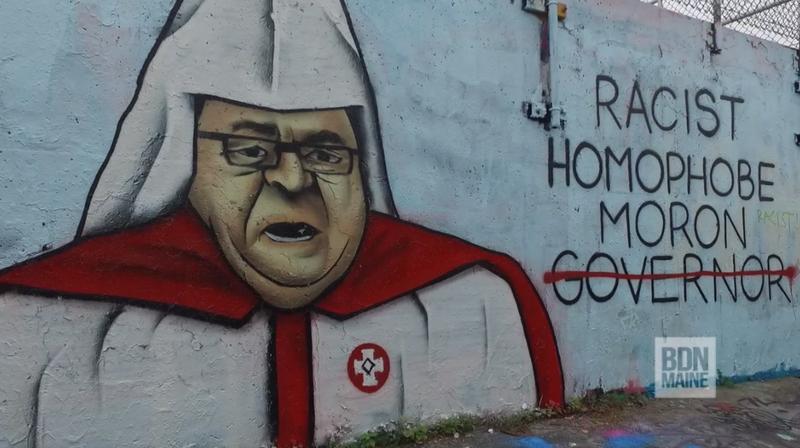 Part of a mural in Portland, Maine, showing Gov. Paul LePage dressed in Ku Klux Klan garbBDN Maine Screenshot