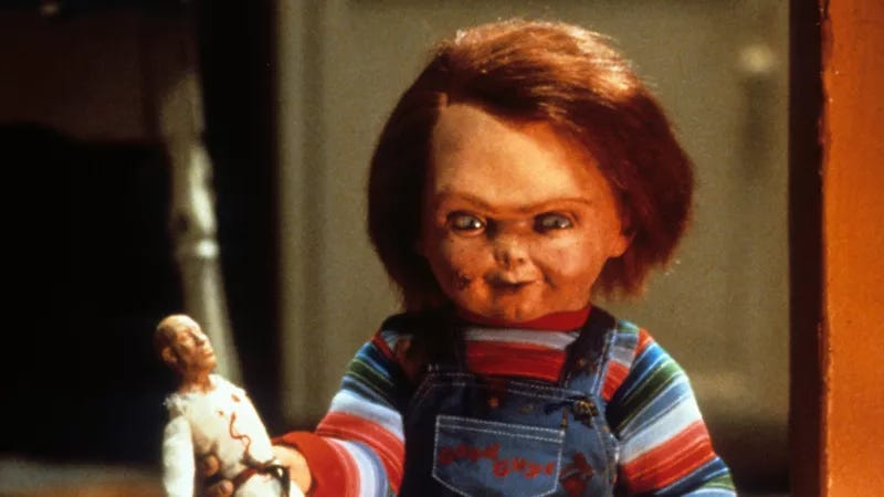 Chucky, whose every still is terrifying.