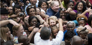 President Barack Obama greets a crowd of supporters. (Brendan Smialowski/AFP/Getty Images)