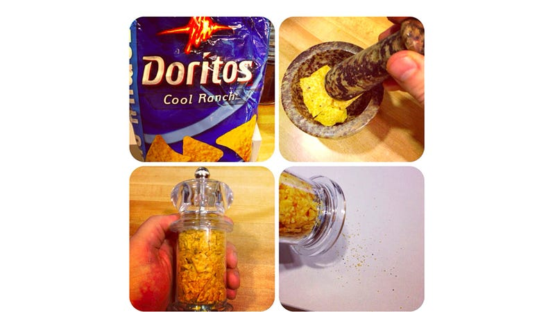 Illustration for article titled Stuffing Cool Ranch Doritos in a Pepper Grinder Is How You Bottle Genius
