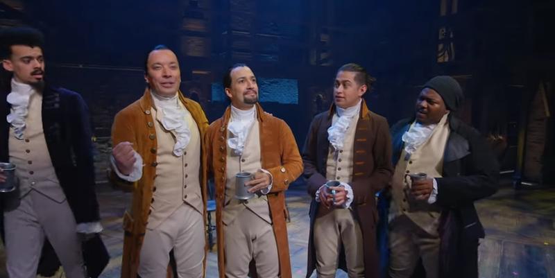 Simon Longnight at Lafayette, Jimmy Fallon, Lin-Manuel Miranda, Rubén J. Carbajal as John Laurens, Brandon Armstrong as Hercules Mulligan