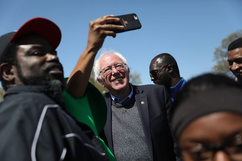 Sen. Bernie Sanders (I-Vt.) joins with others during an event to mark the 50th anniversary of Martin Luther King Jr.'s assassination April 4, 2018, in Memphis, Tenn.