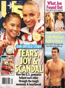 Illustration for article titled This Week In Tabloids: Jen, John, Brad, Tom, Katie, Brit... And Olympic Gymnasts
