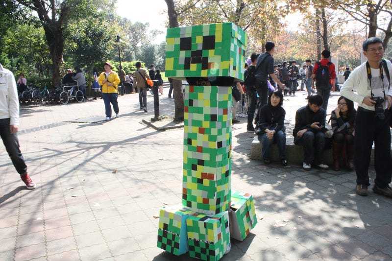 Illustration for article titled A Minecraft Creeper Stands Erect