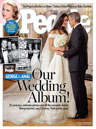 Illustration for article titled Gaze Upon Amal Alamuddin's Glorious Wedding Dress (and George Clooney)