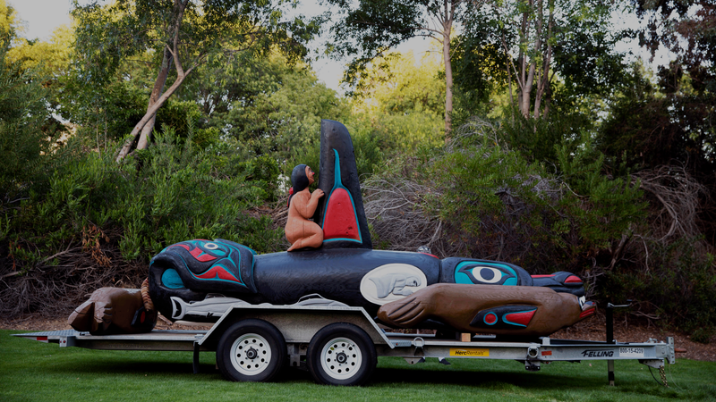 The totem pole that'll sit in the exhibit next month.