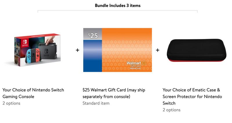 Nintendo Switch + $25 Walmart Gift Card + Case/Screen Protector Bundle | $299 | Walmart