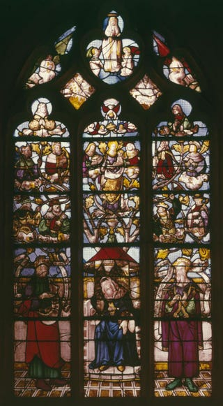 French, Tree of Jesse. Stained glass window, circa 1522-25.St. Saturnin, apse, Ancourt, France