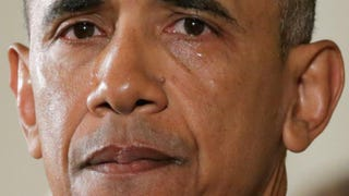 With tears running down his cheeks, President Barack Obama talked about the victims of the 2012 Sandy Hook Elementary School mass shooting and about his efforts to increase federal gun control by executive action Jan. 5, 2016, in the East Room of the White House in Washington, D.C.Chip Somodevilla/Getty Images