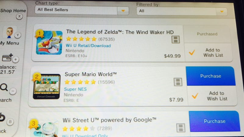 Illustration for article titled Top Sellers On The Wii U eShop