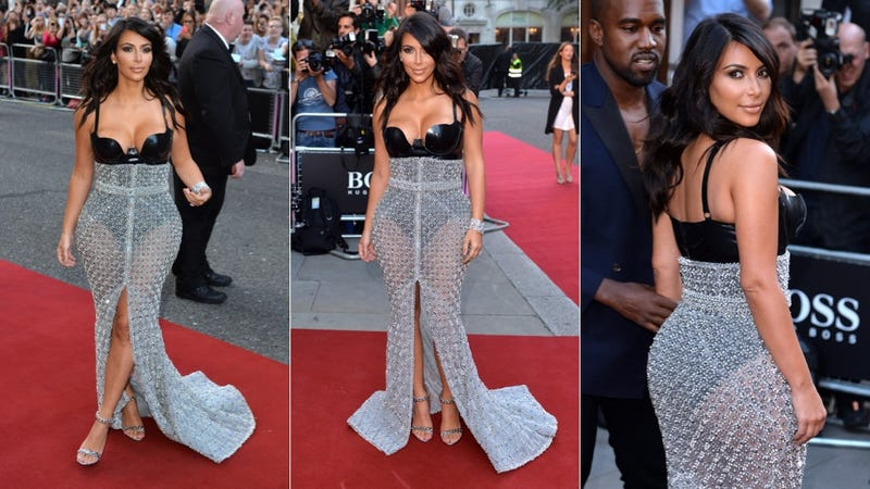 Illustration for article titled Kim Kardashian Hits the Red Carpet in Pleather and Chain Mail