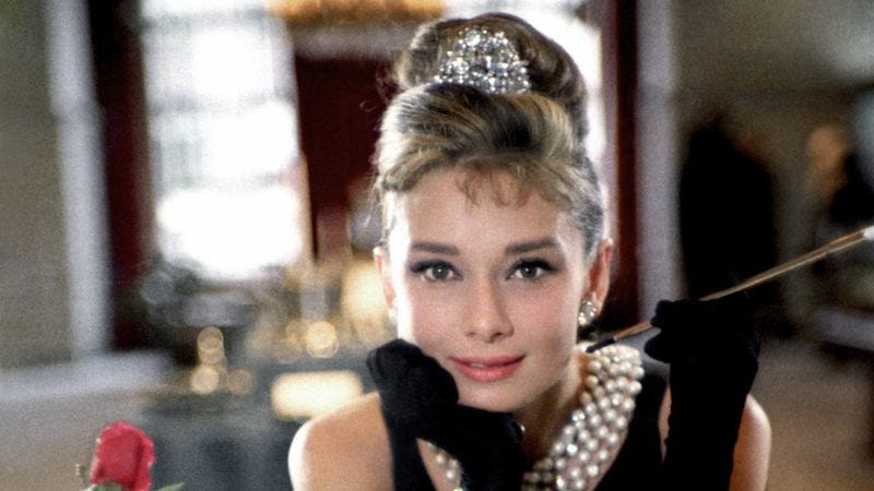 Audrey Hepburn poses for a publicity still for Breakfast At Tiffany's in 1961 in New York City. (Photo by Donaldson Collection/Michael Ochs Archives/Getty Images)