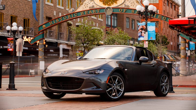 The 2017 Mazda Miata RF, with 155 horsepower and the same fuel economy as the new car.