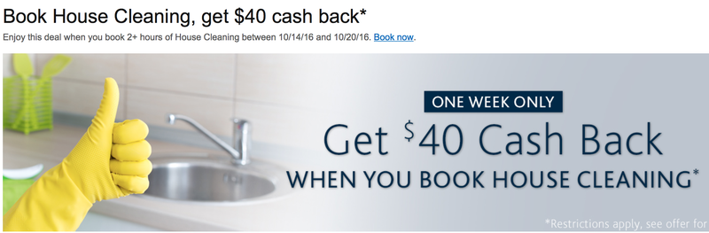 $40 cash back on house cleaning services