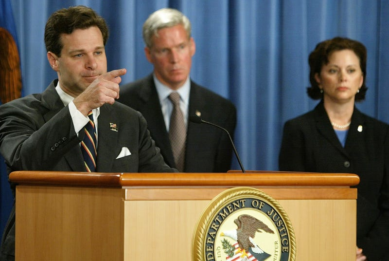 Then-Assistant U.S. Attorney General Christopher Wray at the podium at the Justice Department on Nov. 4, 2003, in Washington, D.C. (Mark Wilson/Getty Images)