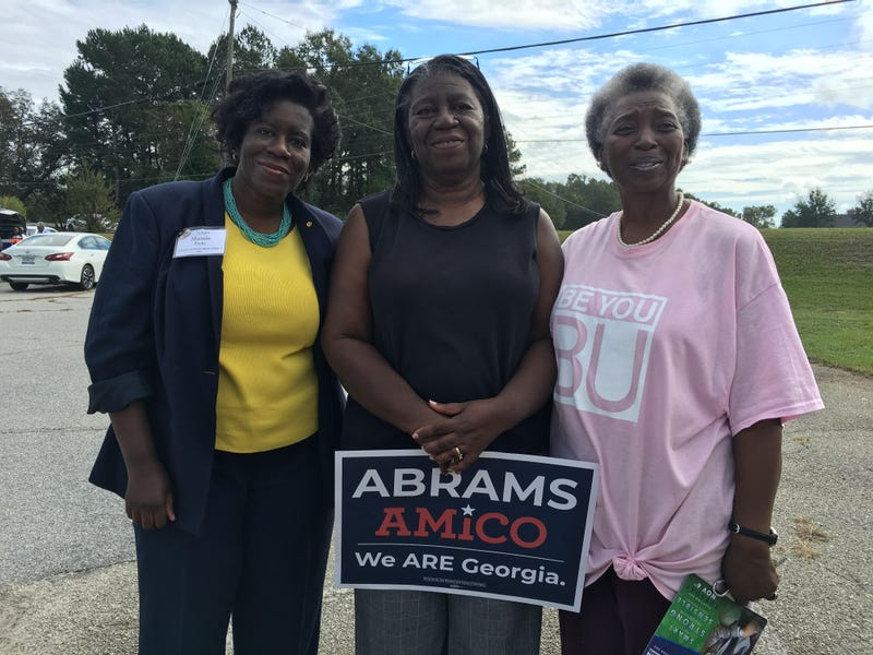 Mamie Parks, left, Sarah Jenkins, middle and Lizzie White, left, in Waynesboro, Ga., on Tuesday, Oct. 16, 2018.