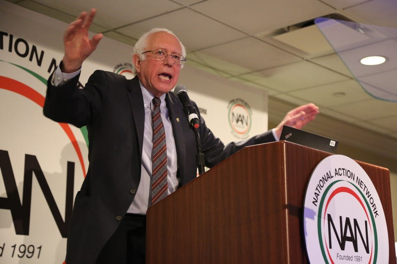 Sen. Bernie Sanders (I-Vt.) speaks at the National Action Network conference on April 20, 2018.
