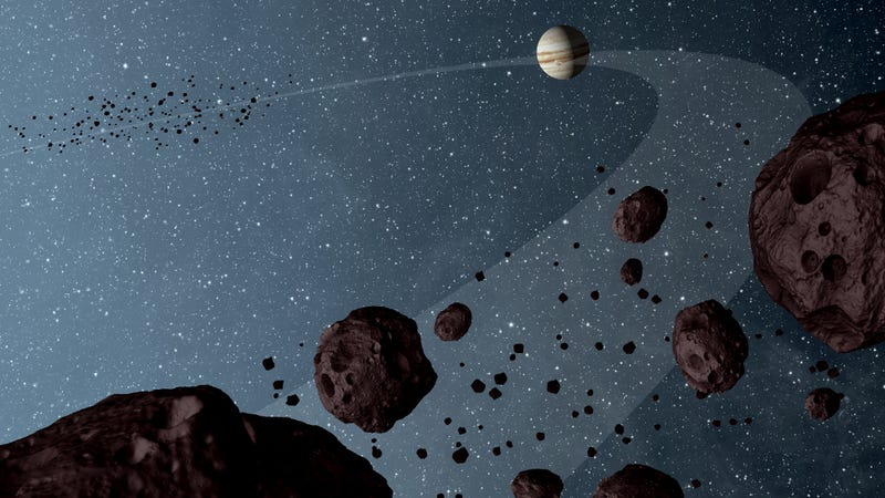 Artist's impression of the Jovian Trojans (not to scale). (Image: NASA/JPL-Caltech)