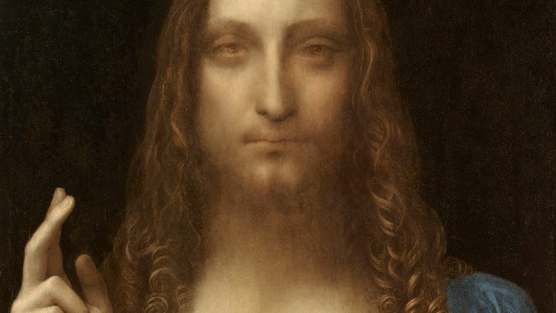 Detalle de 'Salvator Mundi' una obra de Leonardo da Vinci descubierta en 2005
