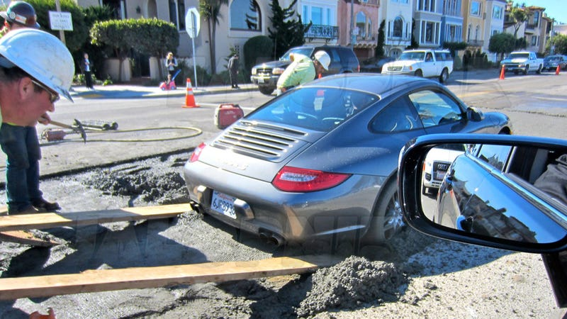 Resultado de imagem para fresh cement, and his Porsche 911 got stuck.