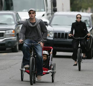 Illustration for article titled Brad, Angelina & The Brood On Bikes