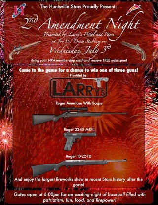 """Illustration for article titled Minor-League Team Giving Away Guns On """"Second Amendment Night"""""""