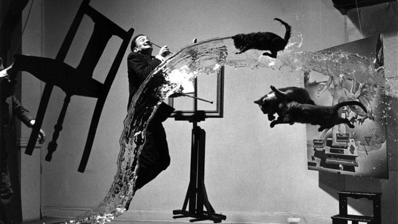 """(Unretouched version of """"Dalí Atomicus"""" (1948) by Philippe Halsman)"""