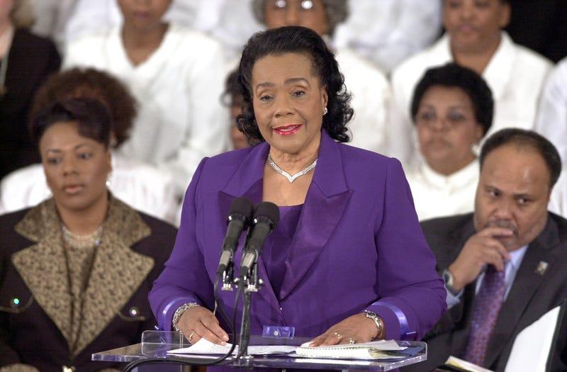 Coretta Scott King speaks during the 36th annual Martin Luther King Jr. Commemorative Service at the historic Ebenezer Baptist Church on Jan. 19, 2004, in Atlanta. Erik S. Lesser/Getty Images