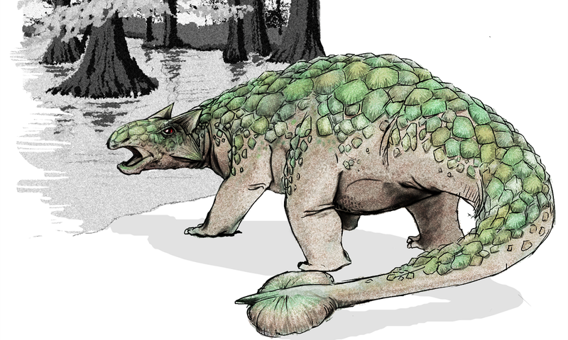 Illustration for article titled How did a heavily-armored dinosaur end up at the bottom of the ocean?