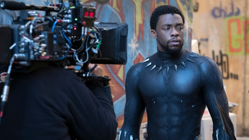 Chadwick Boseman as T'Challa on the set of Marvel's Black Panther.