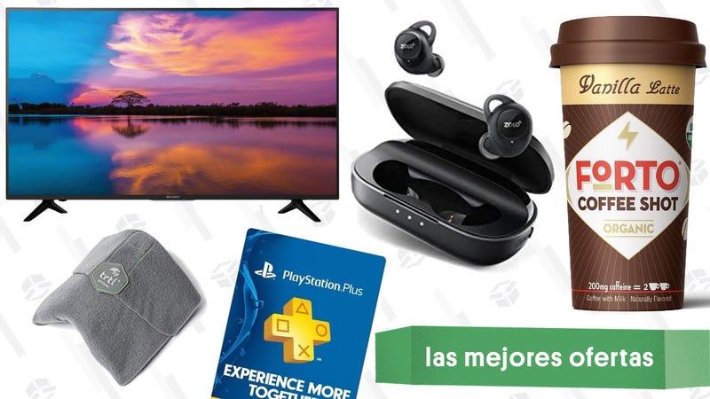 Illustration for article titled Las mejores ofertas de este martes: Televisor de $280, auriculares inalámbricos, almohada de viajes TRTL y más