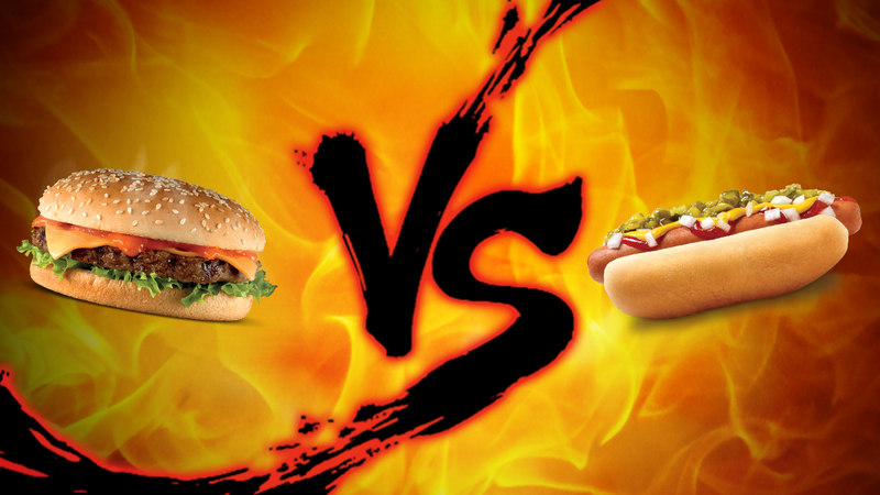 Illustration for article titled Labor Day Showdown: Burger vs. Hot Dogs